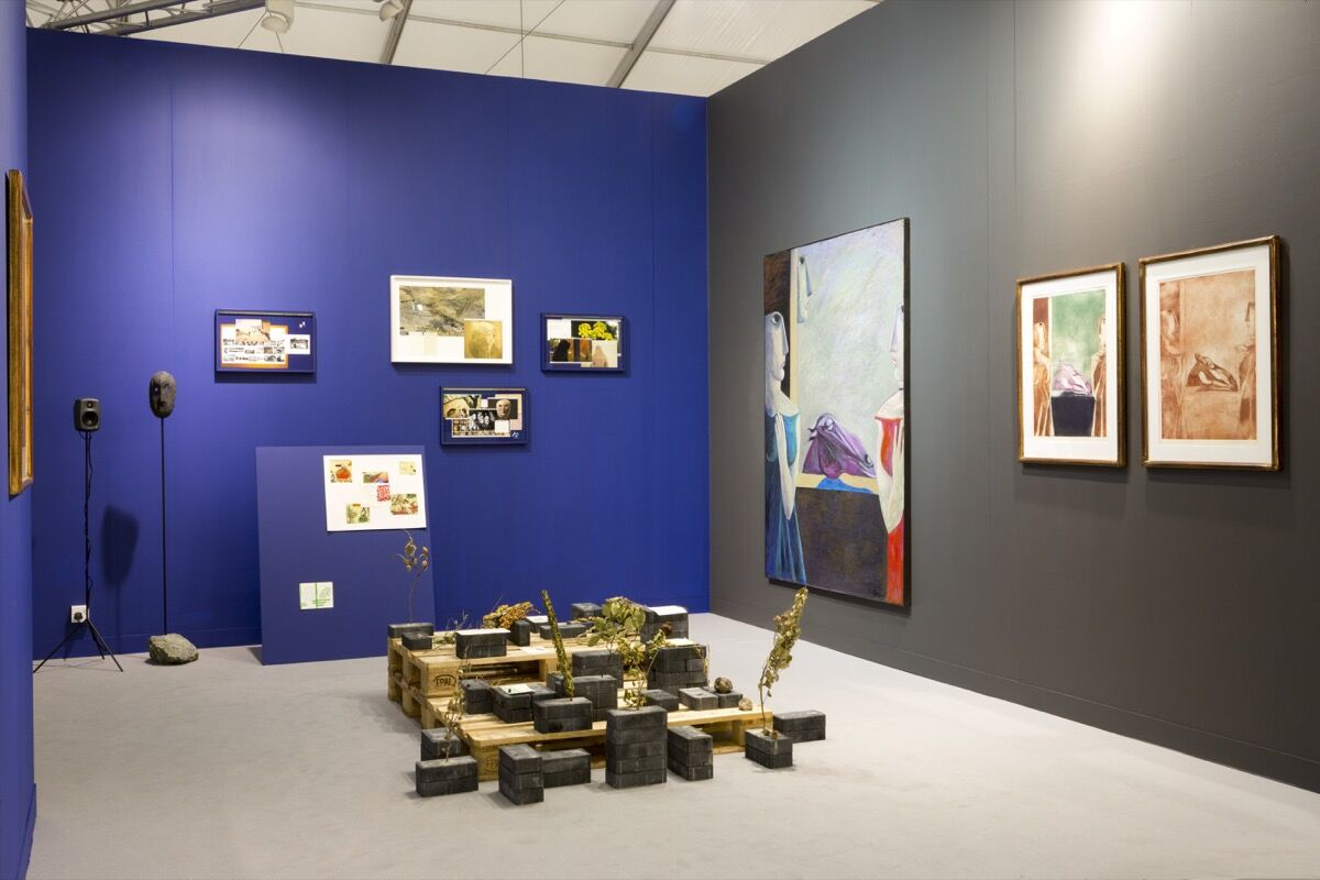 Installation view of Gypsum Gallery's booth at Frieze London 2018. Courtesy of Gypsum Gallery.