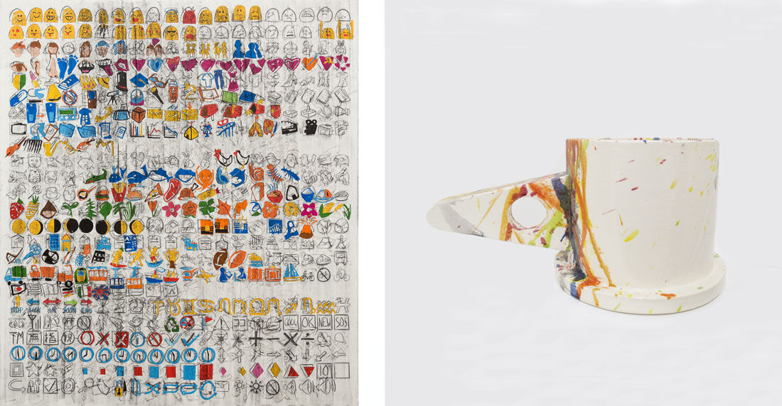 Left: Despina Stokou, Android Emoji Big (left), 2015. Right: Peter Shire, Fissile, 2015. Images courtesy of Derek Eller Gallery.