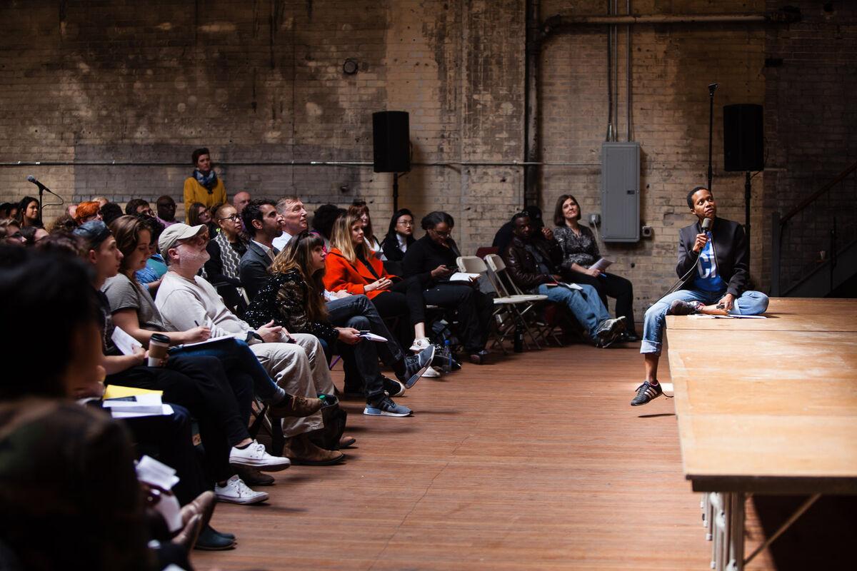 Amanda Williams speaks at Ideas City Detroit. Photo by Marta Xochilt Perez for Artsy.