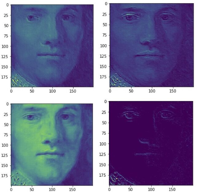 """Activation layers"" of A-Eye's neural network when it analyzed the 400x400-pixel face fragment at the top of Rembrandt's Portrait of a Young Gentleman. Image courtesy of Steven and Andrea Frank."