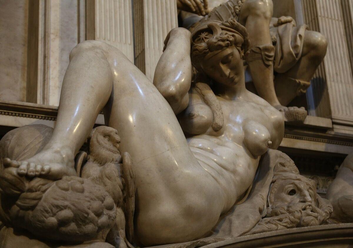Michelangelo Buonarroti, Night, 1524-27. Photo via Wikimedia Commons.