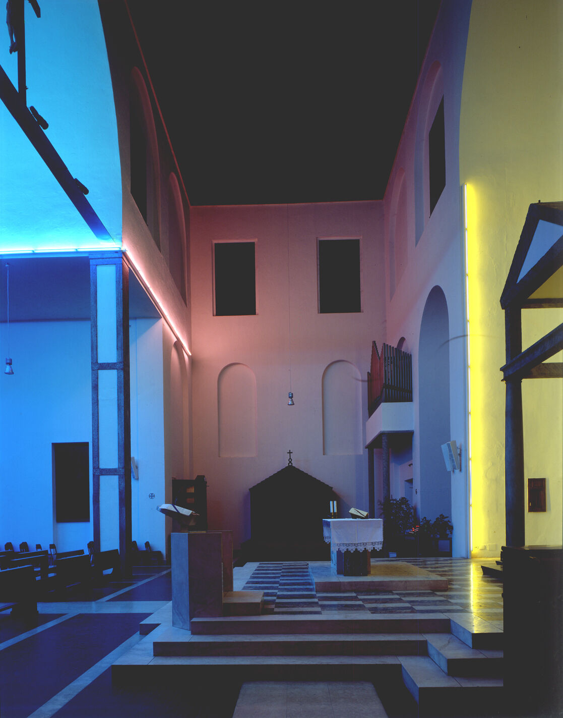 Installation view of Dan Flavin, Untitled, created in 1996 and posthumously realized in 1997, at Santa Maria in Chiesa Rossa, Milano. Photo by Paola Bobba. Courtesy of Fondazione Prada, Milano.