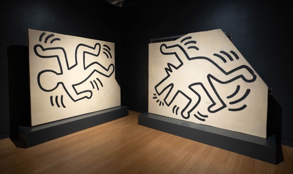 Installation view of Keith Haring , Untitled (The Church of the Ascension Grace House Mural),  ca. 1983–84, at Bonham's, 2019. Courtesy of Bonham's.