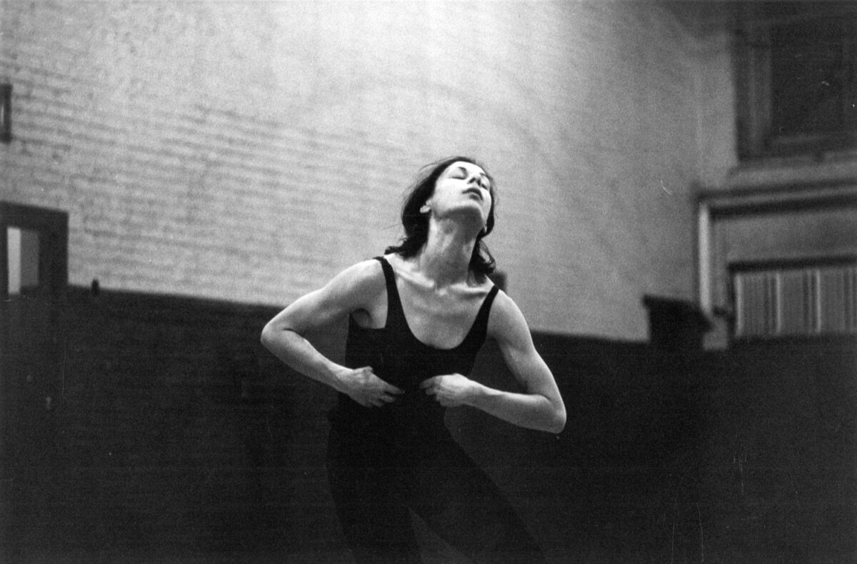 Yvonne Rainer rehearsing a piece at the Judson Memorial Church gym, New York, 1962. Photo by Robert R. McElroy/Getty Images.