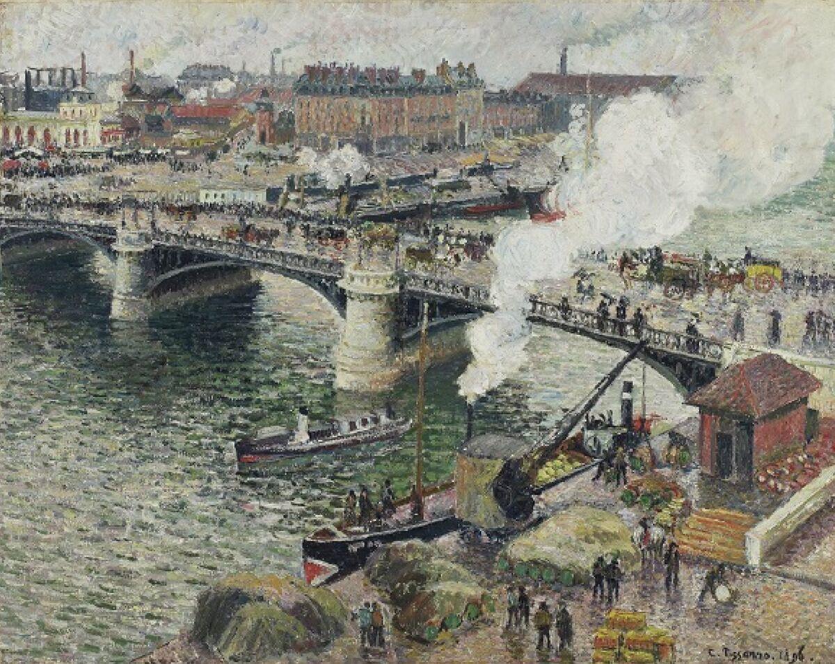 Camille Pissarro, Le pont Boieldieu à Rouen, temps mouillé, 1896. © 2018 Art Gallery of Ontario. Courtesy of the Art Gallery of Ontario.