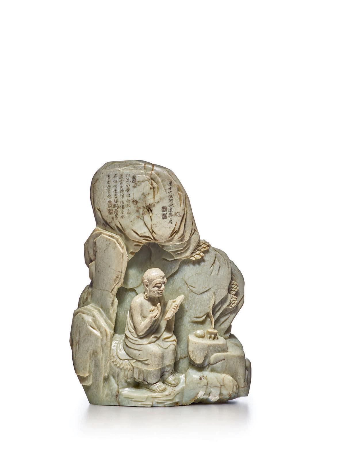 A Celadon Jade 'Luohan' inscribed boulder. Est. $100,000–150,000. Courtesy Sotheby's.