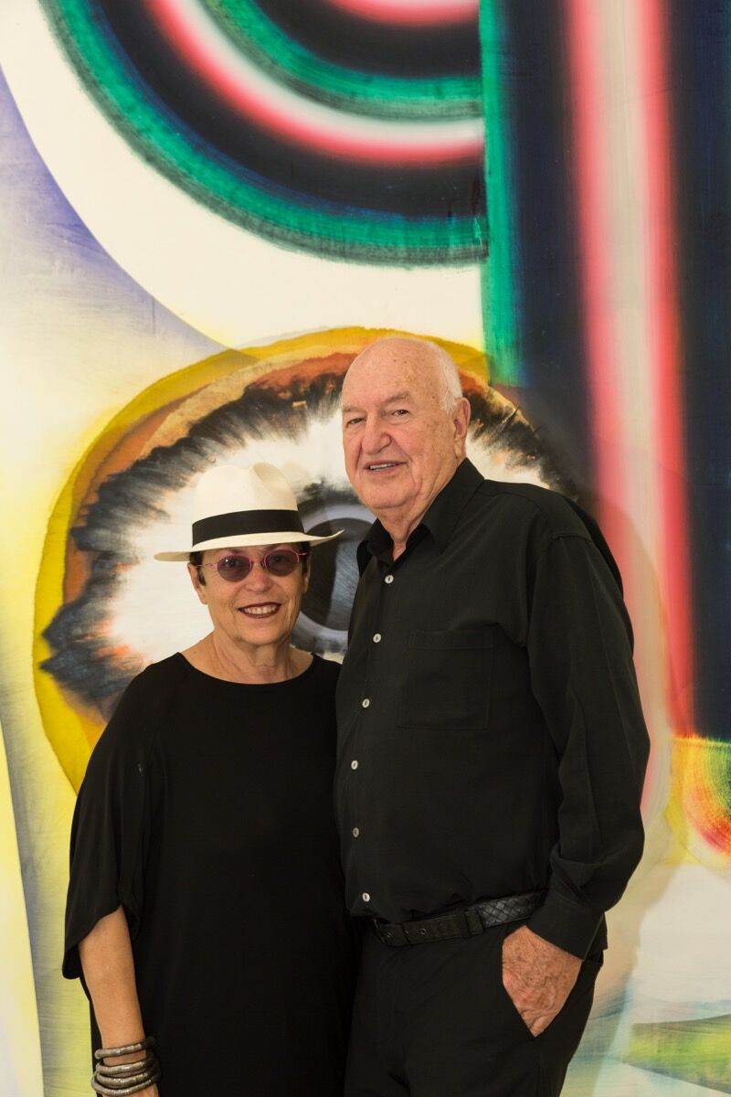 Mera and Don Rubell in front of Kerstin Brätsch, When You See Me Again It Wont Be Me, 2010. Photo by Chi Lam.