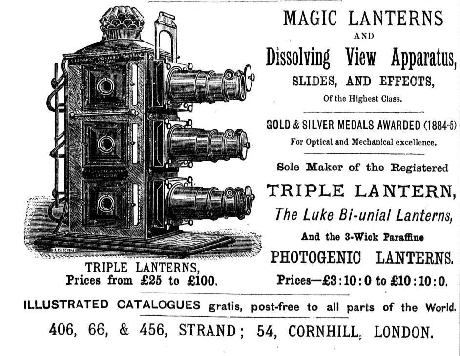 Magic lantern, 1886. Image via Wikimedia Commons.