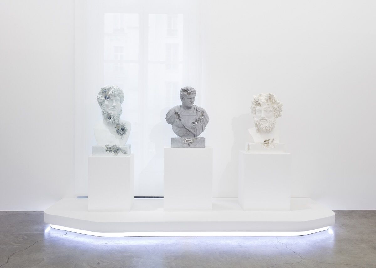 "Daniel Arsham, installation view of ""Paris, 3020"" at Perrotin, Paris, 2020. Photo by Claire Dorn. Courtesy of the artist and Perrotin."