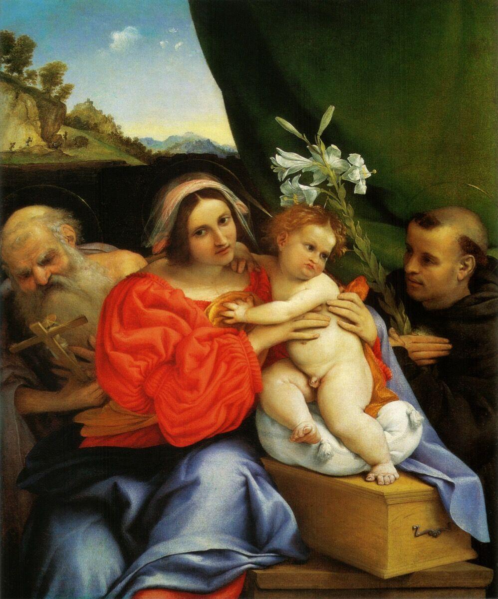Lorenzo Lotto, Madonna with HI> Hieronymus and Niccolas di Tolentino, 1521. National Gallery, London.