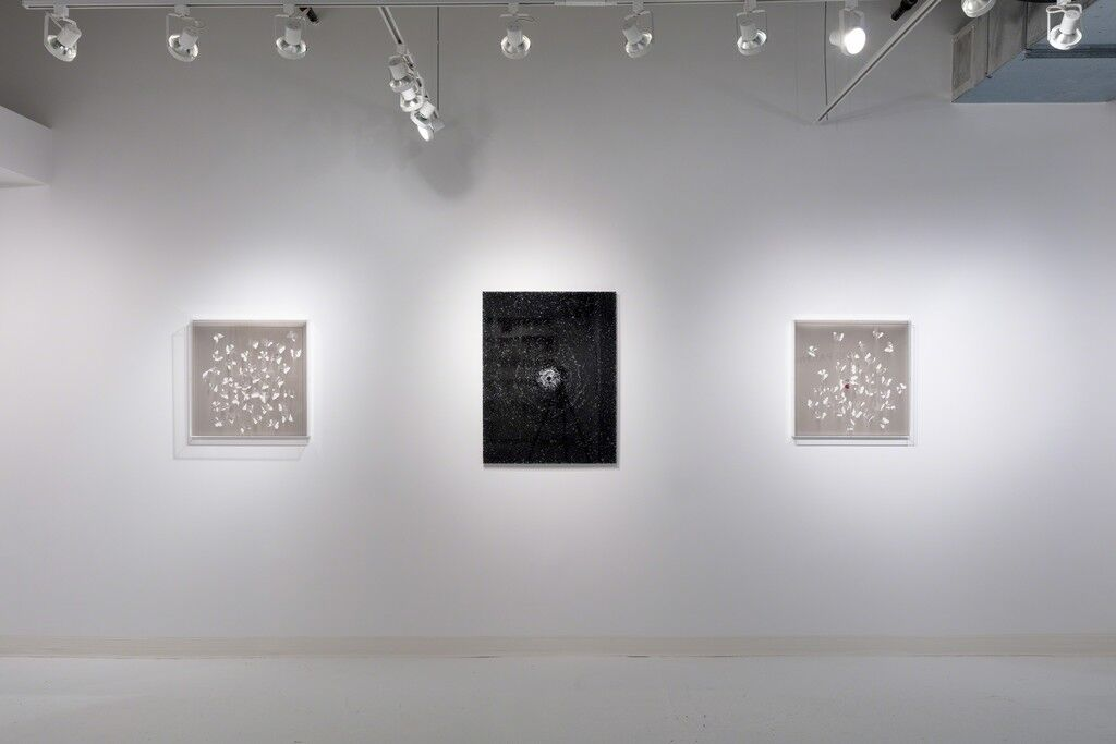 Installation view of Simon Lee Gallery's booth at Dallas Art Fair, 2018, featuring work by Claudio Parmiggiani. Courtesy of the gallery.