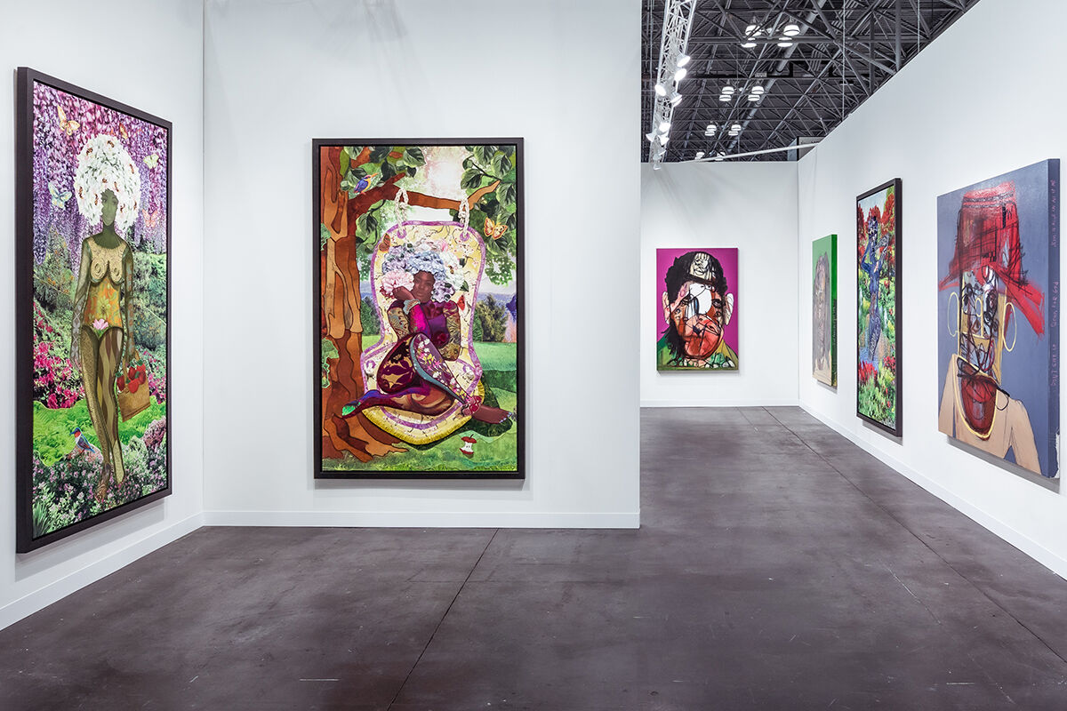Installation view of Almine Rech's booth at The Armory Show, 2021. Photo by Charles Roussel. Courtesy of Almine Rech.