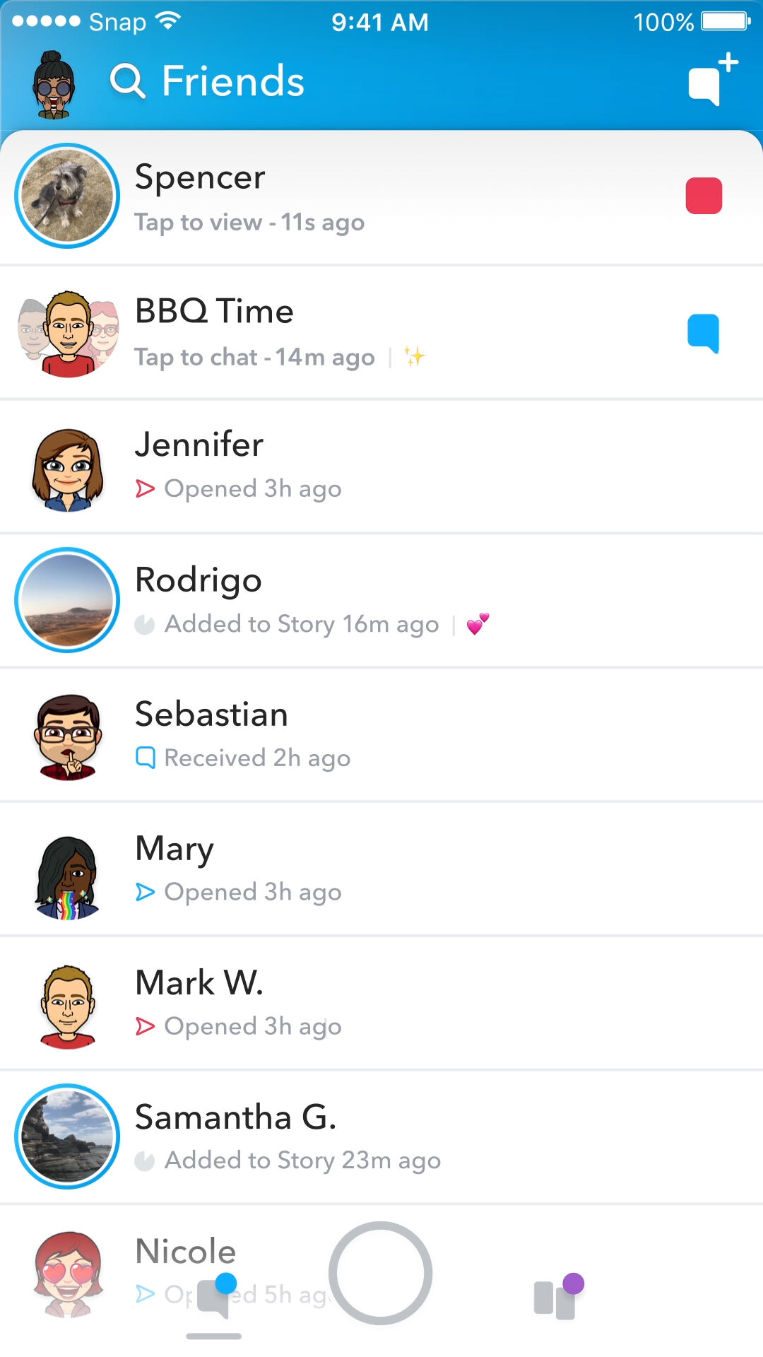 "Snapchat's current interface for its ""Friends"" page, which was updated in May. Courtesy of Snapchat."