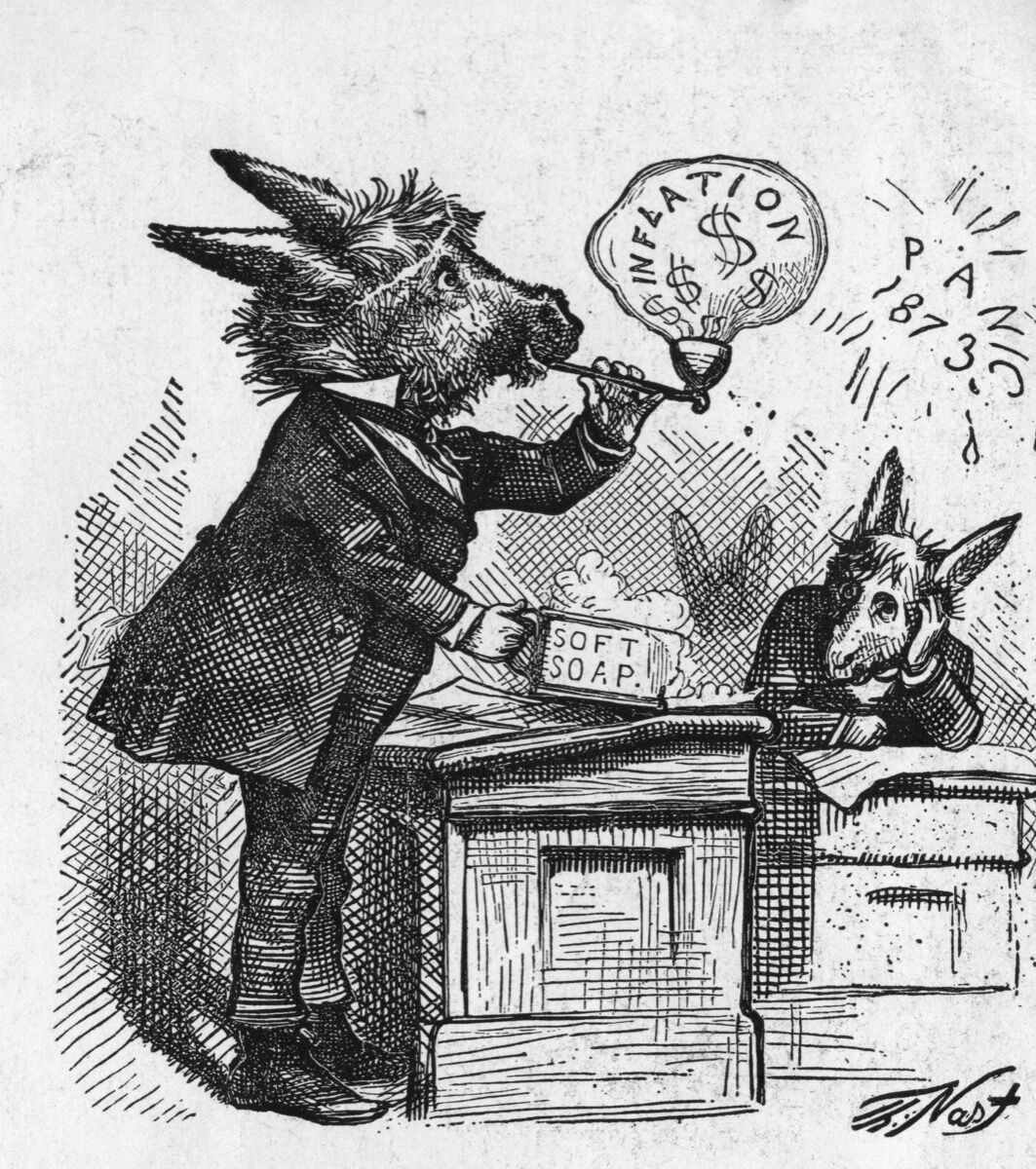 Nast cartoon depecting a group of Democratic Congressman as donkeys, 1873. Photo by Kean Collection/Getty Images.