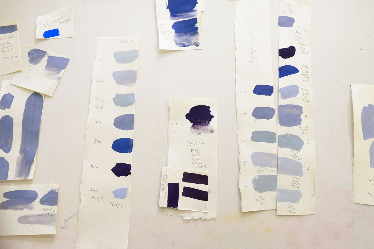 Swatches of color in water-based inks. The final version of each print used 14 colors. Courtesy Pace Prints.