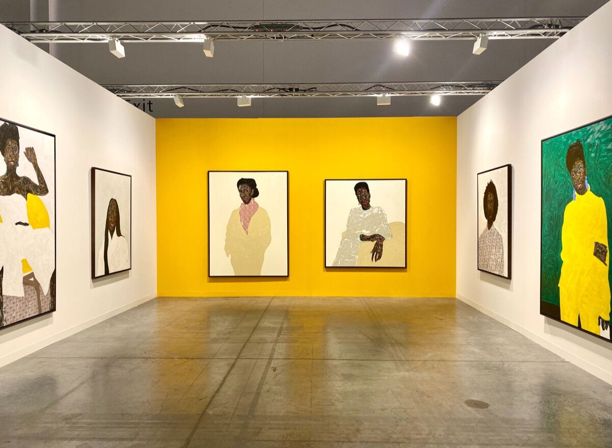 Installation view of works by Amoako Boafo, in Mariane Ibrahim's booth, at Art Basel in Miami Beach, 2019. Courtesy of the artist and Mariane Ibrahim.