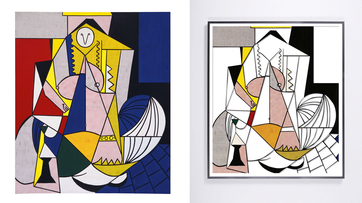 Left: Roy Lichtenstein, Femme d'Alger, 1963. The Eli and Edythe Broad Collection. © Estate of Roy Lichtenstein; Right: Jose Dávila, Untitled (Femme d'Alger) V, 2016. © Jose Dávila. Courtesy of Sean Kelly Gallery, New York.
