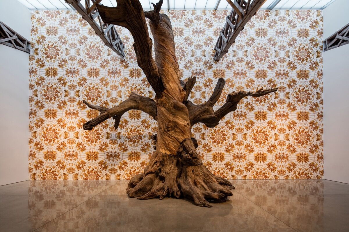 """Installation view of """"Ai Weiwei 2016: Roots and Branches"""" at Mary Boone Gallery. Photo courtesy of Mary Boone Gallery."""