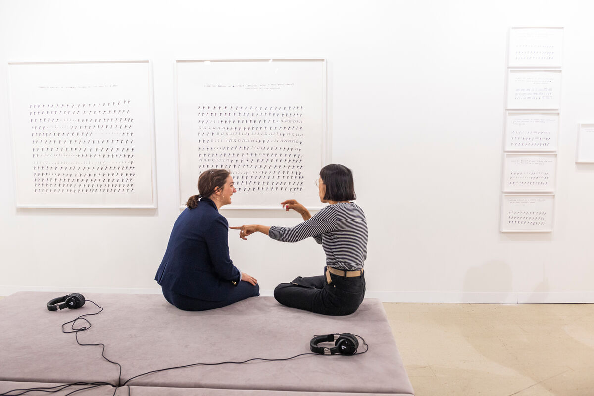 Installation view of work by Christine Sun Kim at White Space Beijing's booth at Art Basel in Basel, 2018. Courtesy of Art Basel.