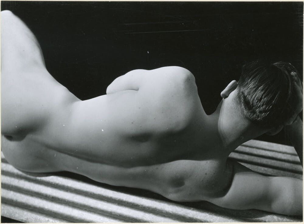 A male nude taken by George Platt Lynes in 1930.   Gelatin silver print, 6-1/4 × 4-1/2 in. From the Collections of the Kinsey Institute, Indiana University. © Estate of George Platt Lynes.