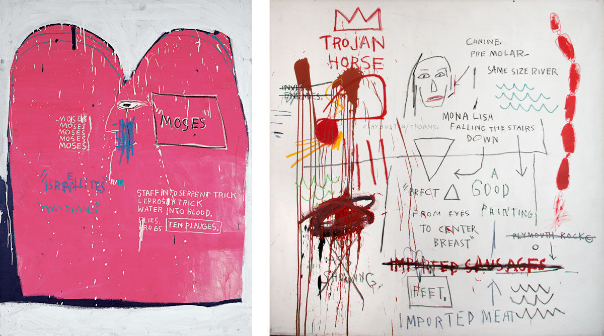 Left: Jean-Michel Basquiat, Moses and the Egyptians, 1982. Guggenheim Blibao Museoa; gift of Bruno Bischofberger, Zurich; Right: Jean-Michel Basquiat, Thesis, 1983. Private Collection. Works © The Estate of Jean-Michel Basquiat / Licensed by Artestar, New York. Courtesy of Nahmad Contemporary.