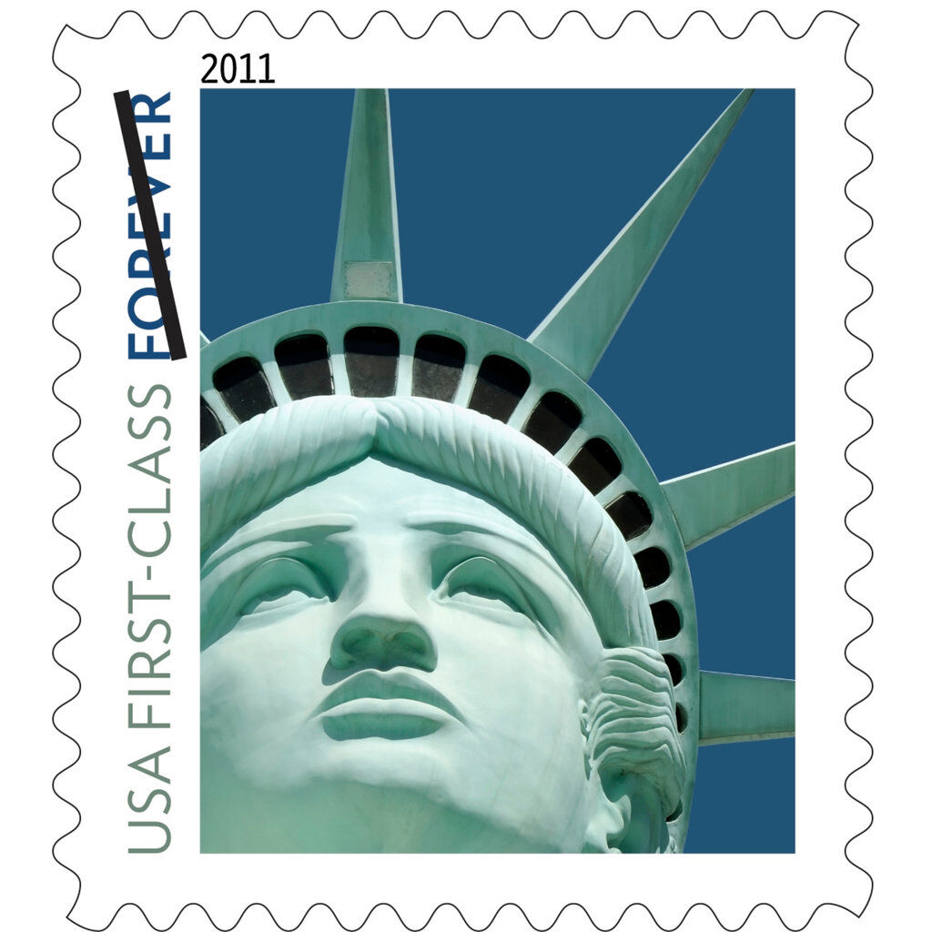 The new Lady Liberty First-Class stamp issued by the U.S. Postal Service.