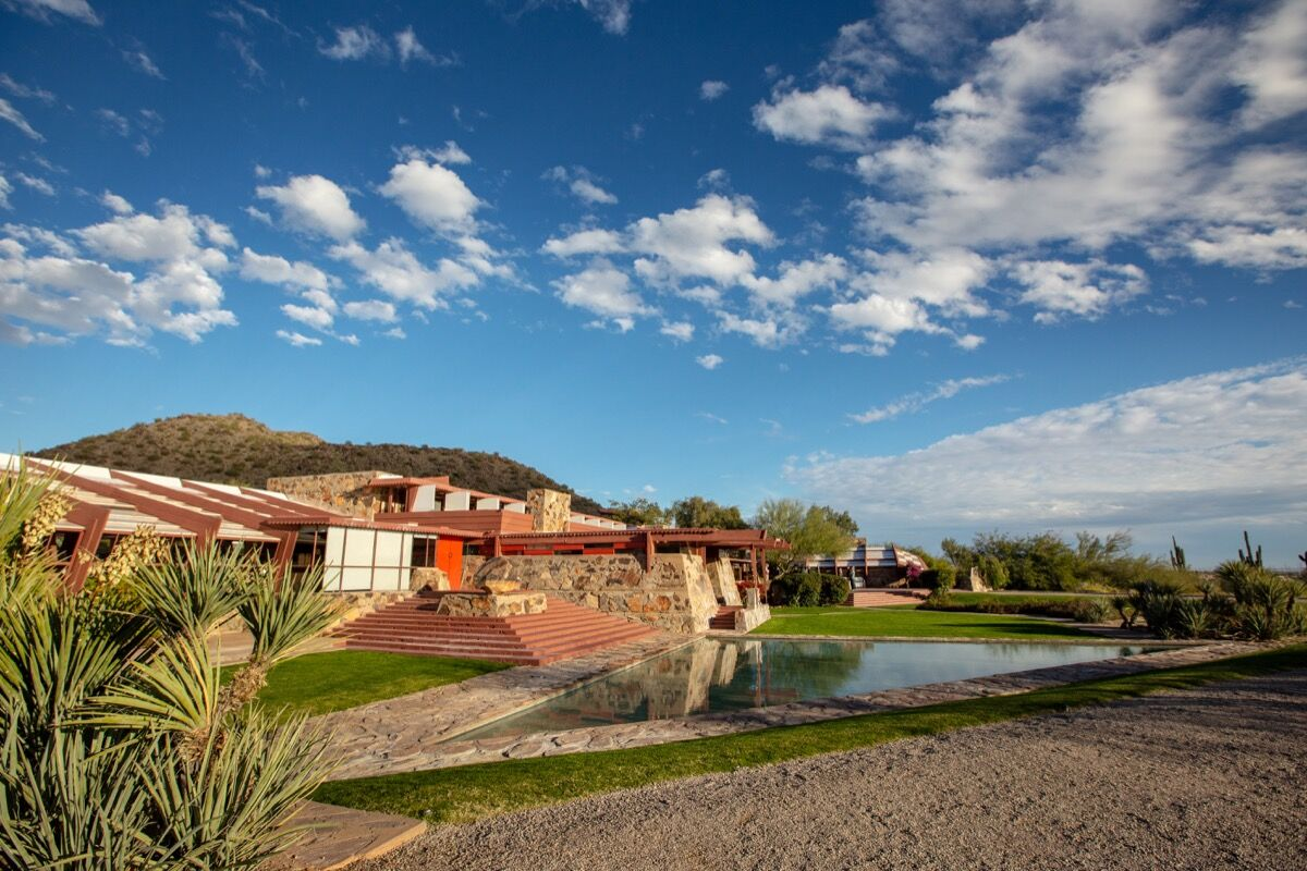 Exterior view of Taliesin West, 2019. Photo by Jill Richard. Courtesy of  Frank Lloyd Wright Foundation.