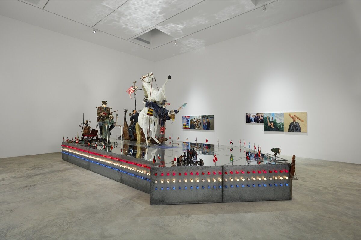 """Installation view of Edward and Nancy Kienholz, The Ozymandias Parade, 1985,  in """"The Red Bean Grows in the South,"""" at the Faurschou New York, 2019. Photo by Tom Powel Imaging. © Faurschou Foundation."""