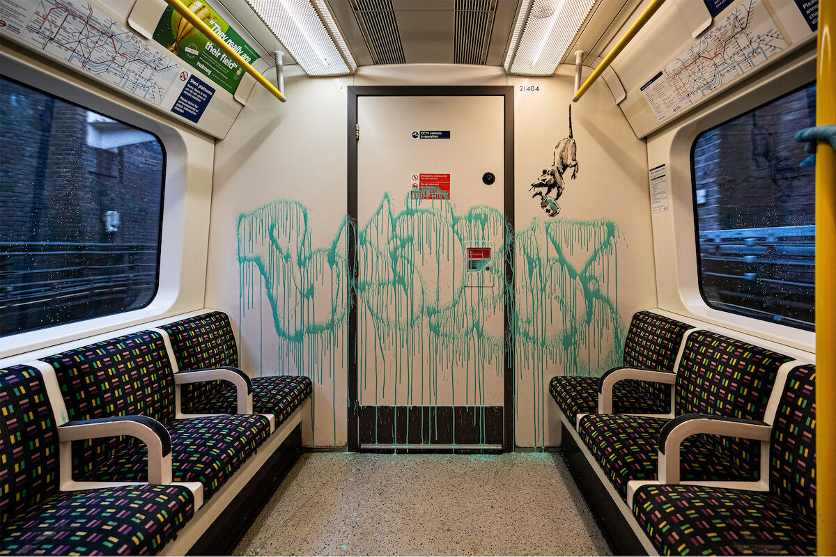 Part of an intervention on the London Tube by Banksy. Photo via Banksy.co.uk.