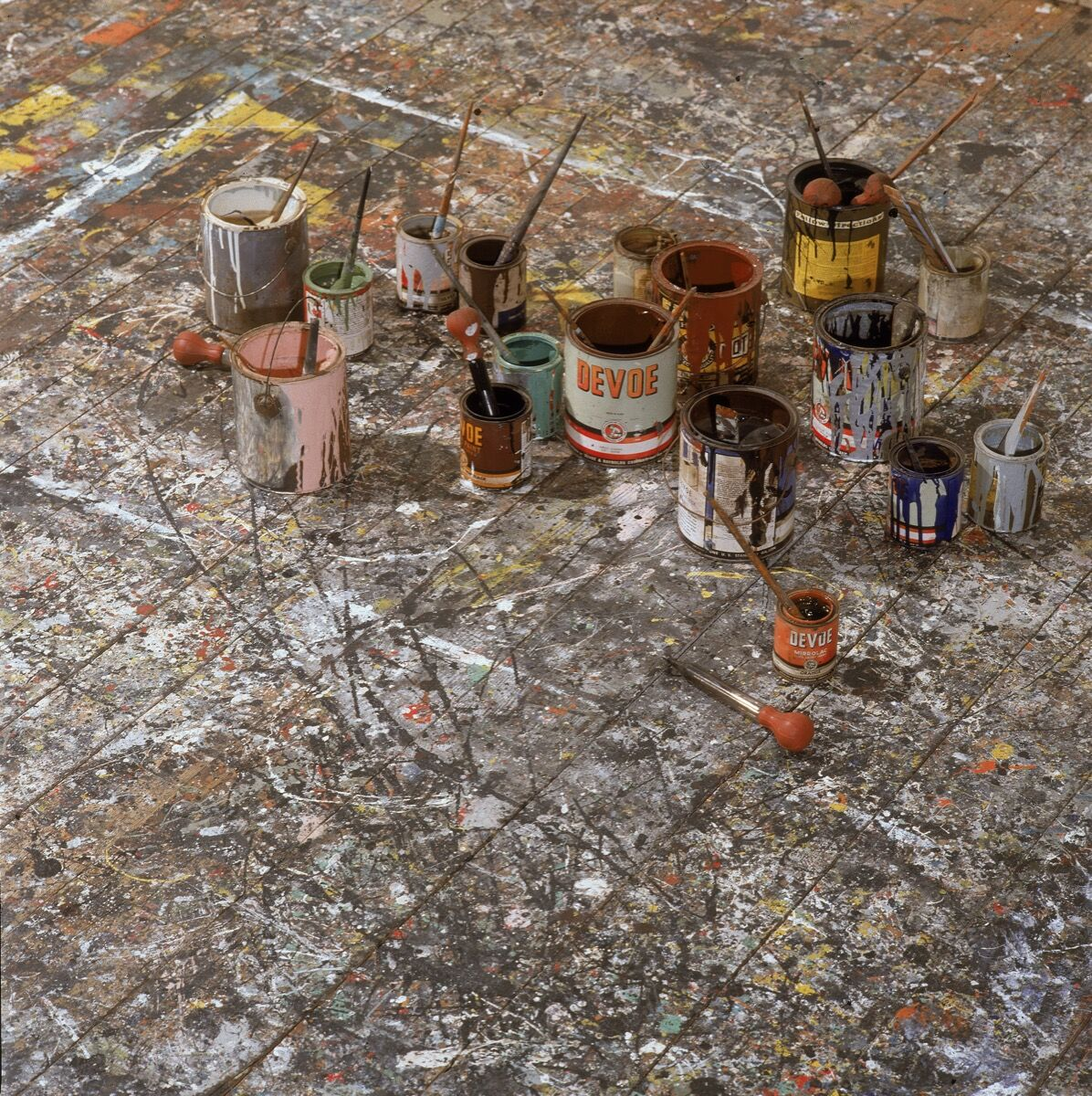 View of the paint-splattered floor of Jackson Pollock's studio in East Hampton, New York,  1991. Photo by Susan Wood/Getty Images.