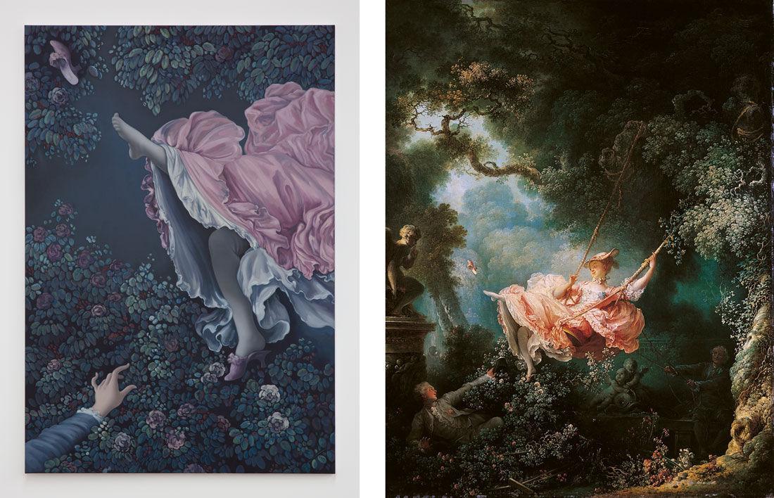 Left: Jesse Mockrin, Garden of Love, 2016. Photo courtesy of Night Gallery; Right: Jean-Honoré Fragonard, The Swing, 1767. Image via Wikimedia Commons.