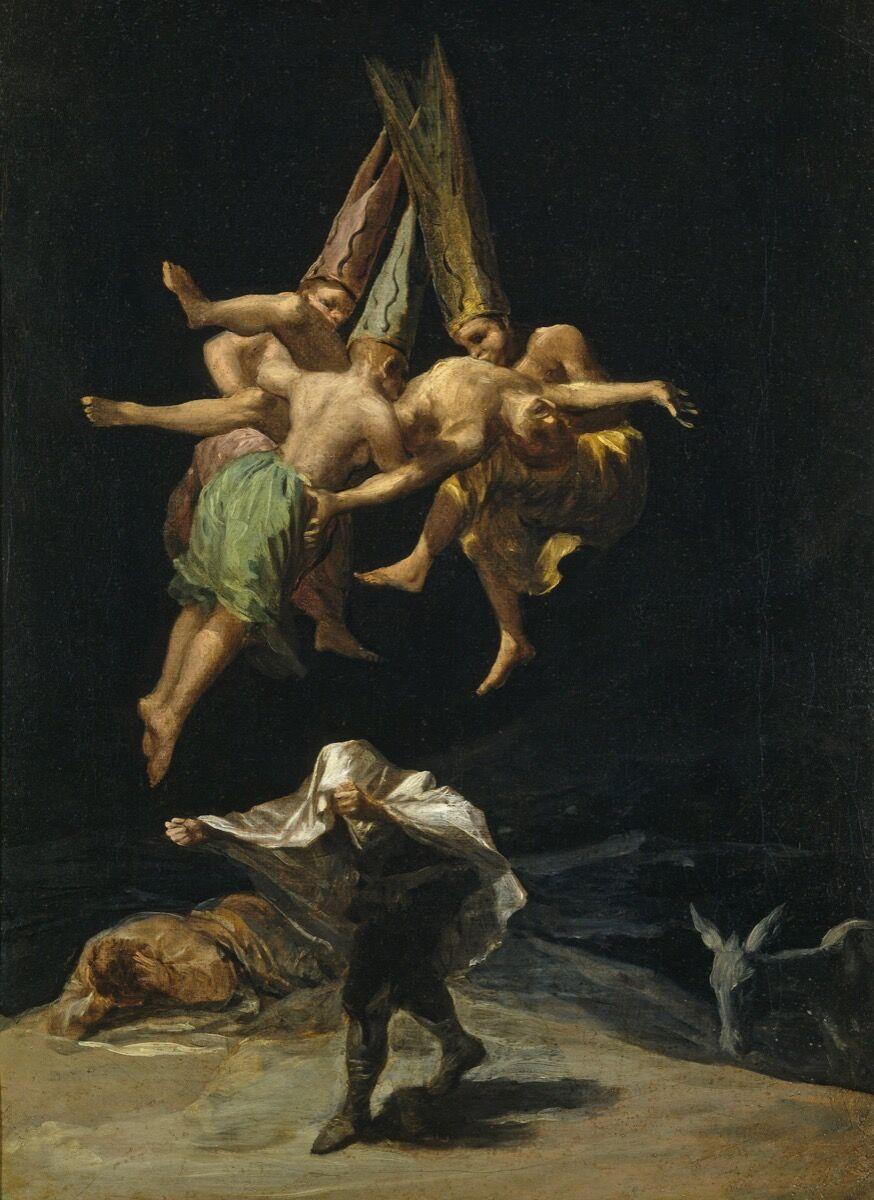 Francisco Goya,  Witches Flight , 1797–98. Image via Wikimedia Commons.