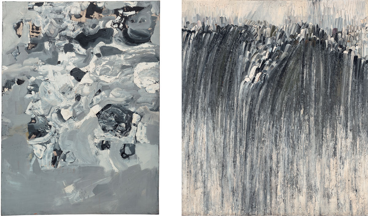 Left: Jay DeFeo, Untitled (Mountain series – Everest), 1955. © 2016 The Jay DeFeo Foundation/Artists Rights Society (ARS), New York; Right: Jay DeFeo, Origin, 1956. © 2016 The Jay DeFeo Foundation/Artists Rights Society (ARS), New York. Images courtesy of The Jay DeFeo Foundation.