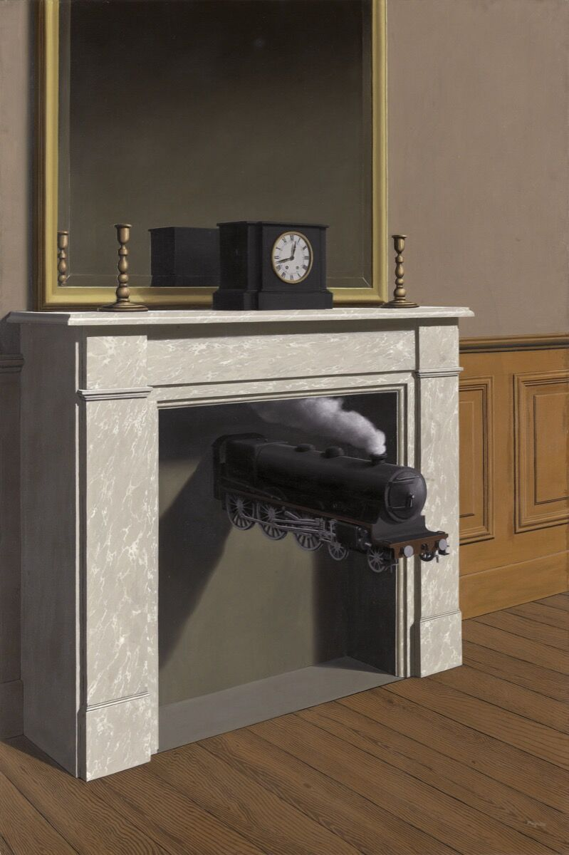 René Magritte.  Time Transfixed , 1938. Joseph Winterbotham Collection. © 2018 C. Herscovici, London / Artists Rights Society (ARS), New York.