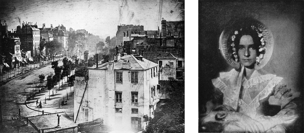 Left: Boulevard du Temple Paris. The oldest surviving picture of a living person, 1838; Right: Portrait of Dorothy Catherine Draper. The earliest surviving photograph of a woman, 1839 or 1840.