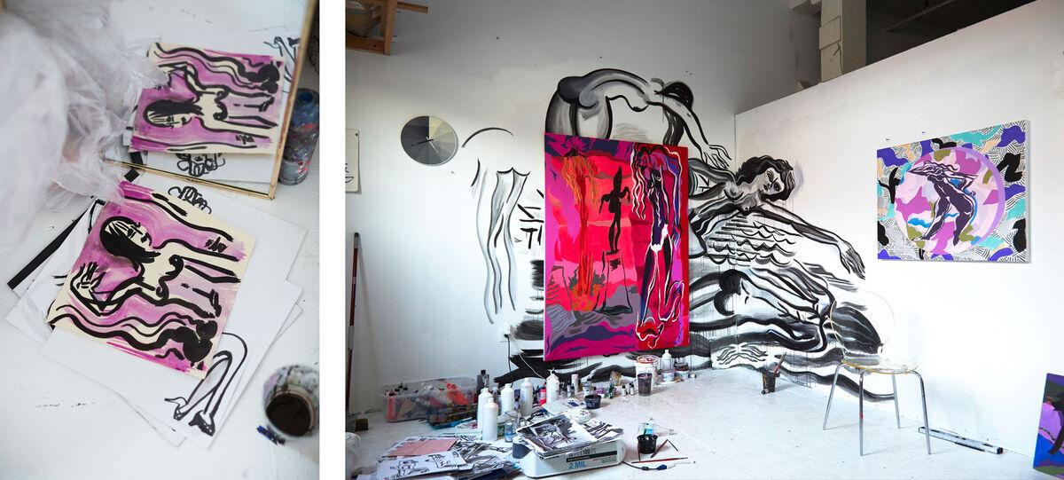 Detail views of Mira Dancy's New York studio by Emily Johnston for Artsy.