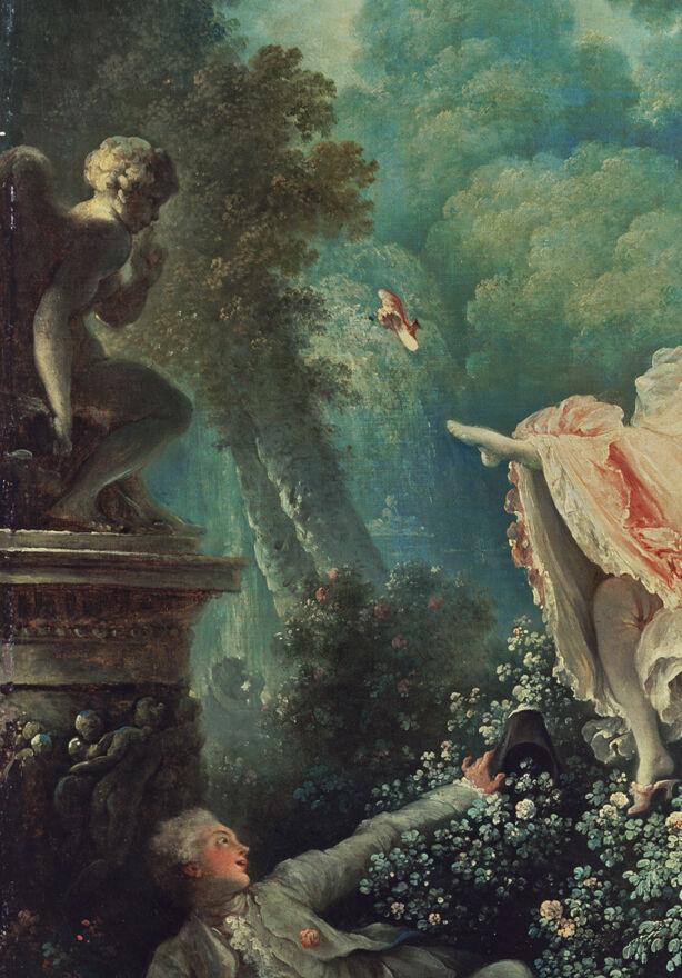 """Detalle de Jean-Honoré Fragonard, Les Hasards Heureux de L & # x27; Escarpolette (""""The Swing""""), 1767. Cortesía de la Colección Wallace."""