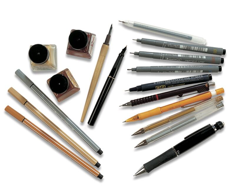 Inks, dip brushes, dip pens, and pens. © 2019 IMM Lifestyle Books. Courtesy of Fox Chapel Publishers.