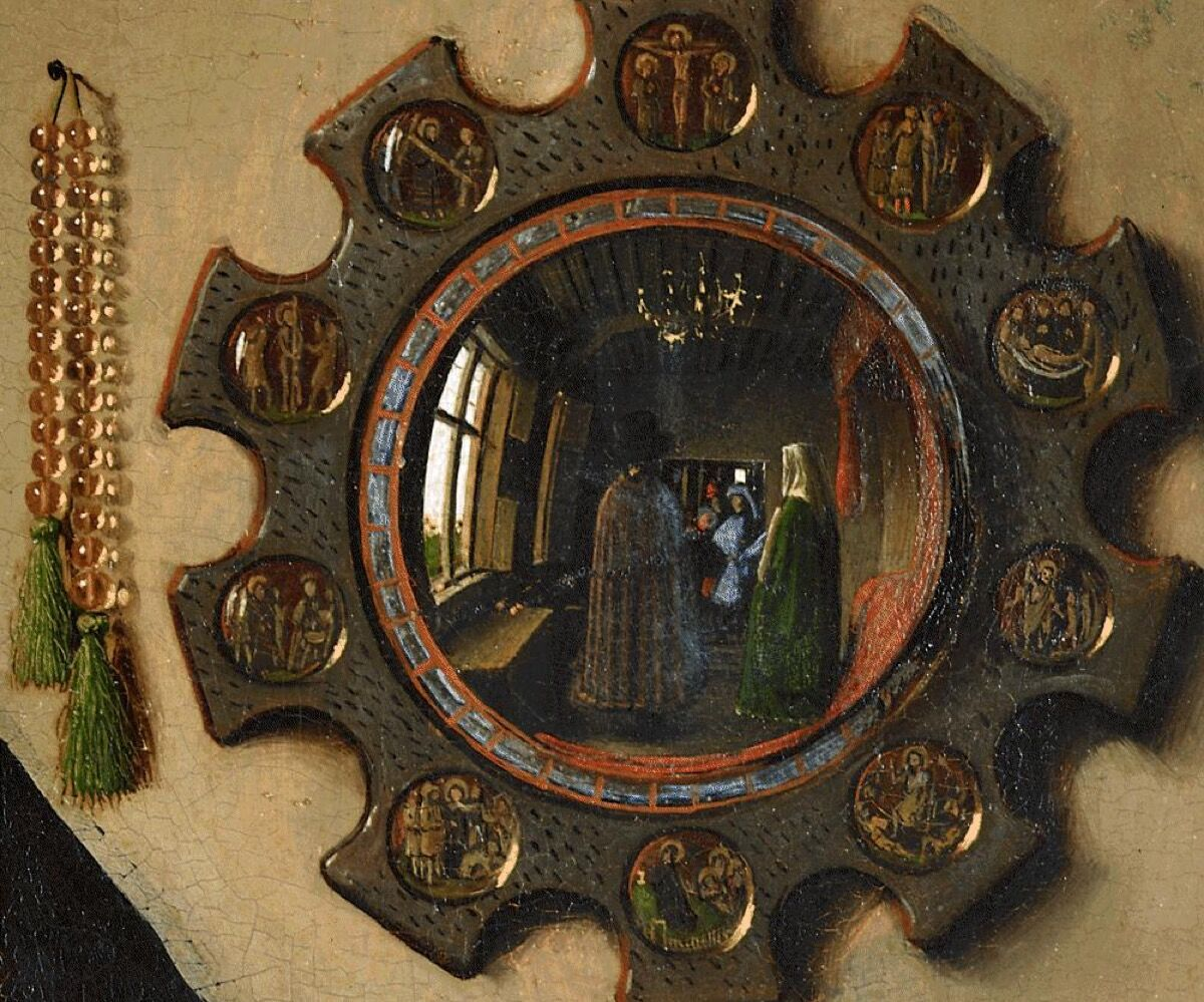 Detail of Jan van Eyck,  Portrait of Giovanni(?) Arnolfini and his Wife  , 1434. Image via Wikimedia Commons.