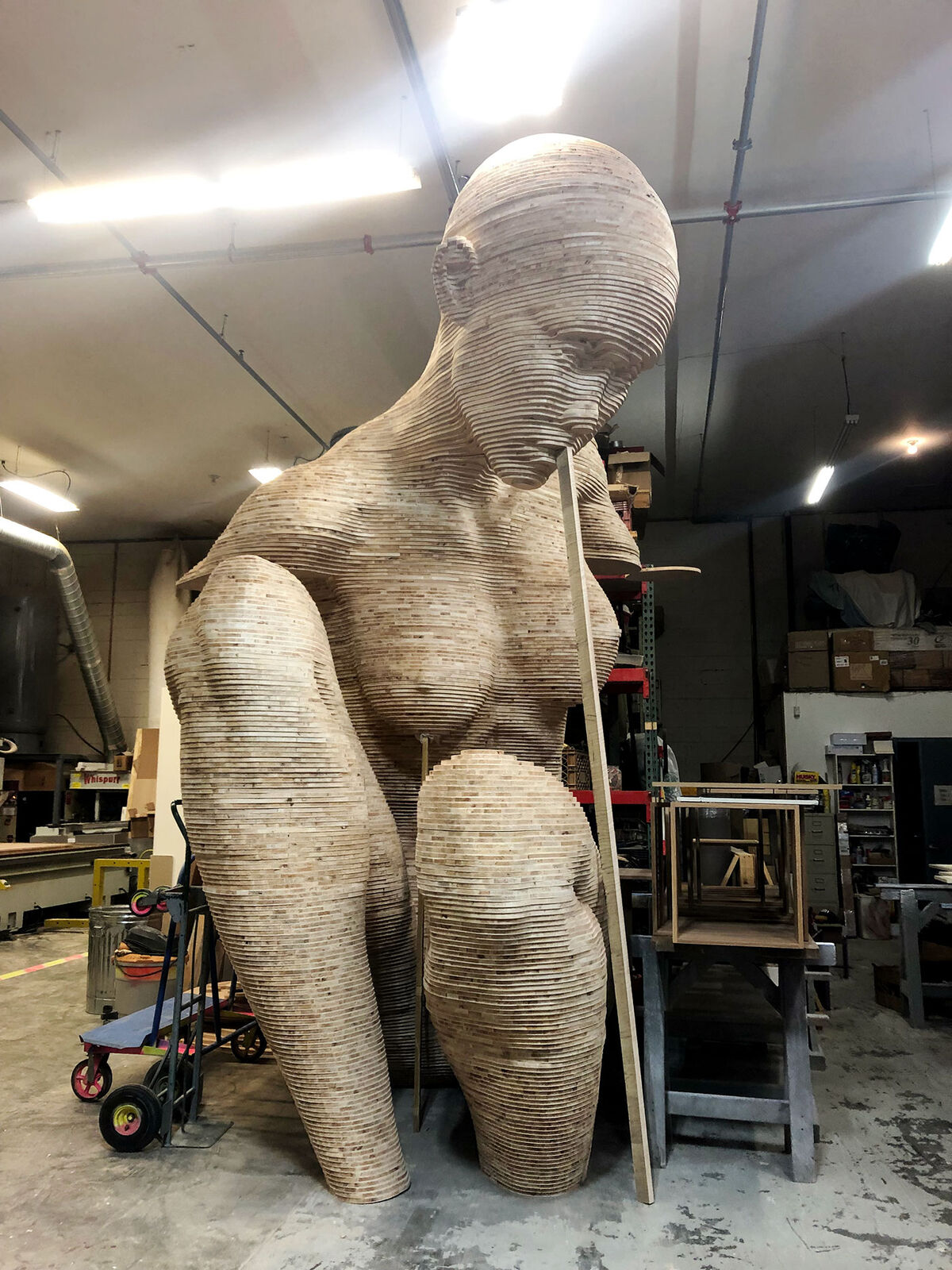 In-progress view of Chris Carnbuci's new sculpture Mariposita , 2019, at a woodworking shop in Suffern, New York. Courtesy of the artist.