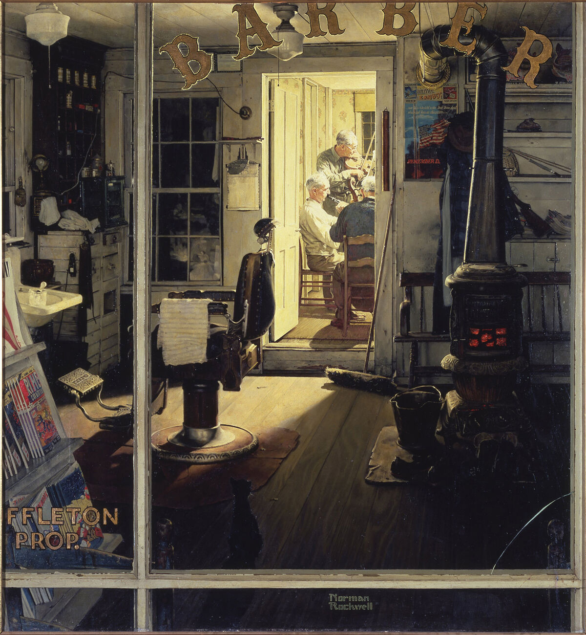 Norman Rockwell, Shuffleton's Barbershop, 1950. Cover illustration forThe Saturday Evening Post, April 29, 1950. © SEPS: Licensed by Curtis Licensing, Indianapolis, IN. Courtesy of the Lucas Museum of Narrative Art and the Norman Rockwell Museum.