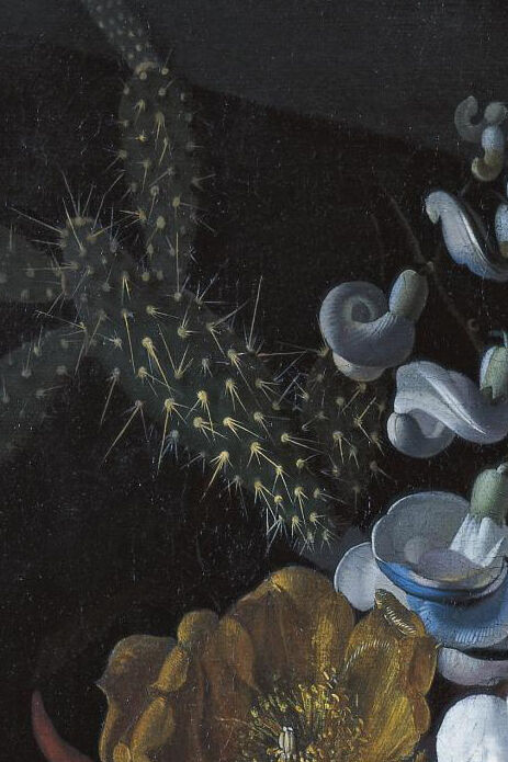 Rachel Ruysch, detail of A still life with devil's trumpet, a cactus, a fig branch, honeysuckle and other flowers in a blue glass vase resting on a ledge, ca. 1690. Image via Wikimedia Commons.