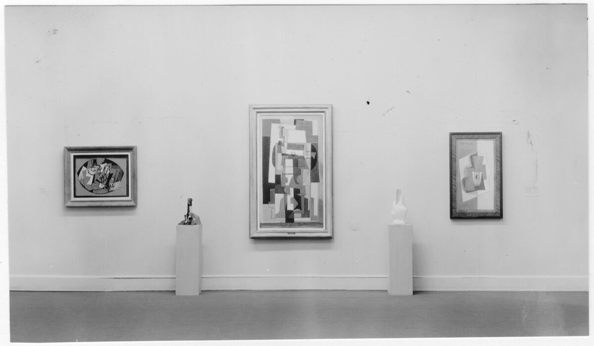 """Installation view of the exhibition """"Cubism and Abstract Art,"""" on view at The Museum of Modern Art, March 2–April 19, 1936. The Museum of Modern Art Archives, New York. Photo: Beaumont Newhall"""