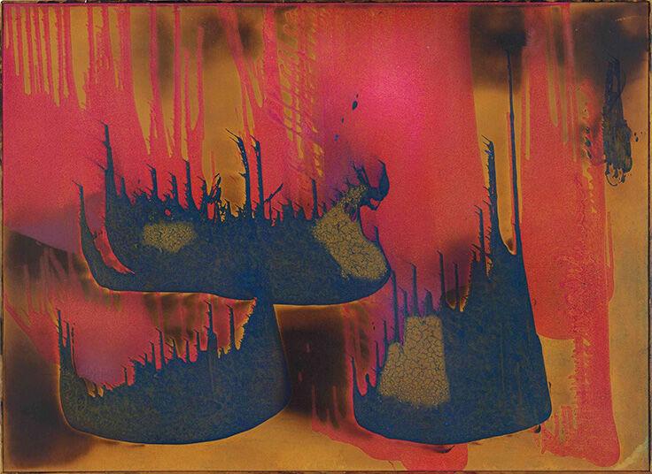 Yves Klein, Peinture de feu couleur sans titre (FC27) (1962). Courtesy Christie's.