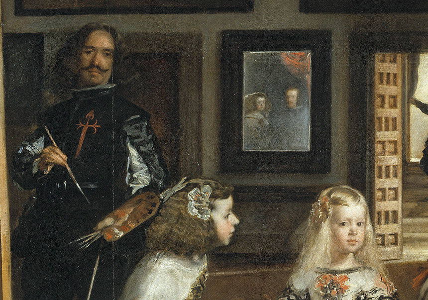 Detail of Velázquez and the mirror (picturing King Philip IV and Queen Mariana) in Las Meninas.
