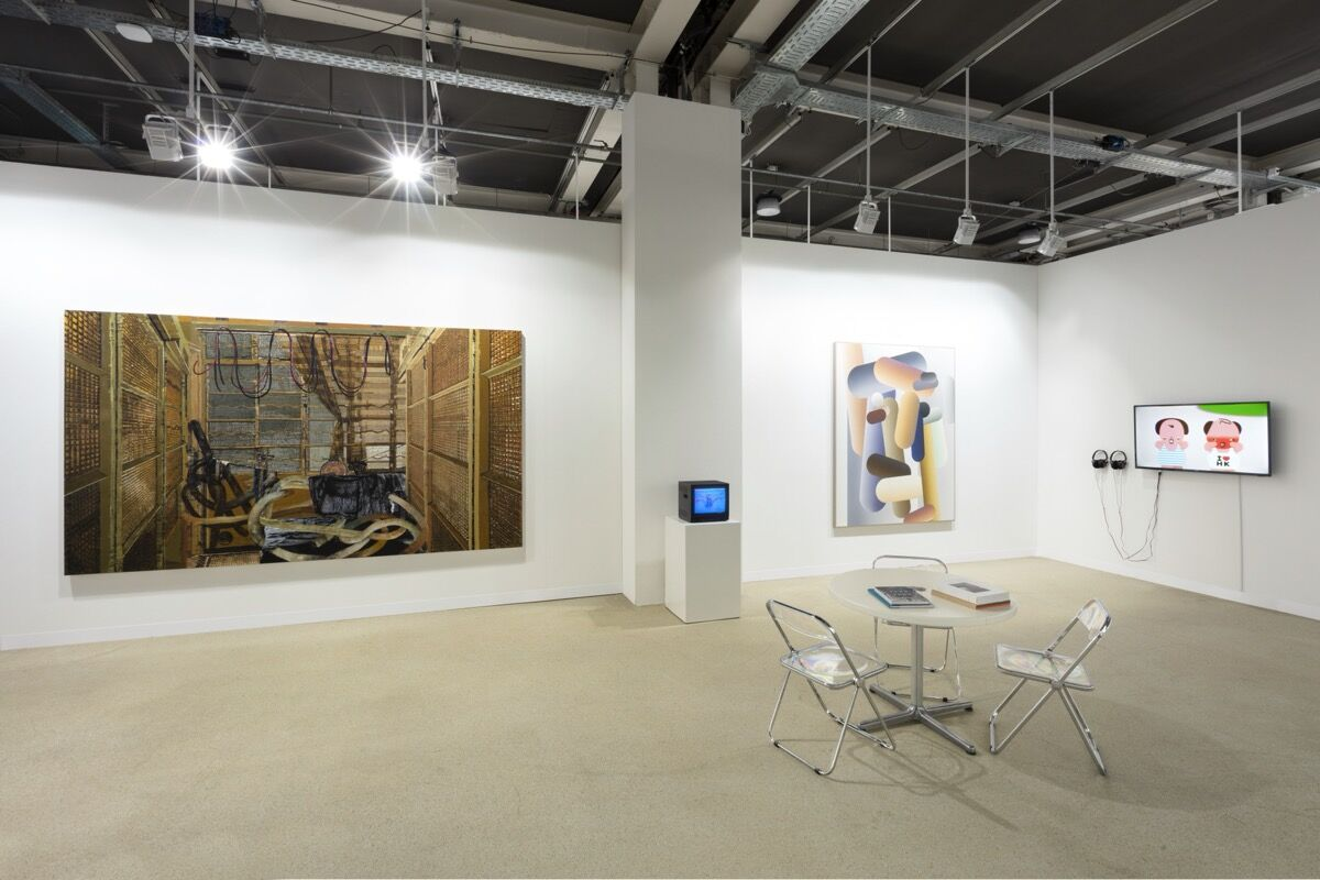 Installation view of Edouard Malingue Gallery's booth at Art Basel, Basel, 2021. Photo by Andrea Rossetti. Courtesy of Edouard Malingue Gallery.