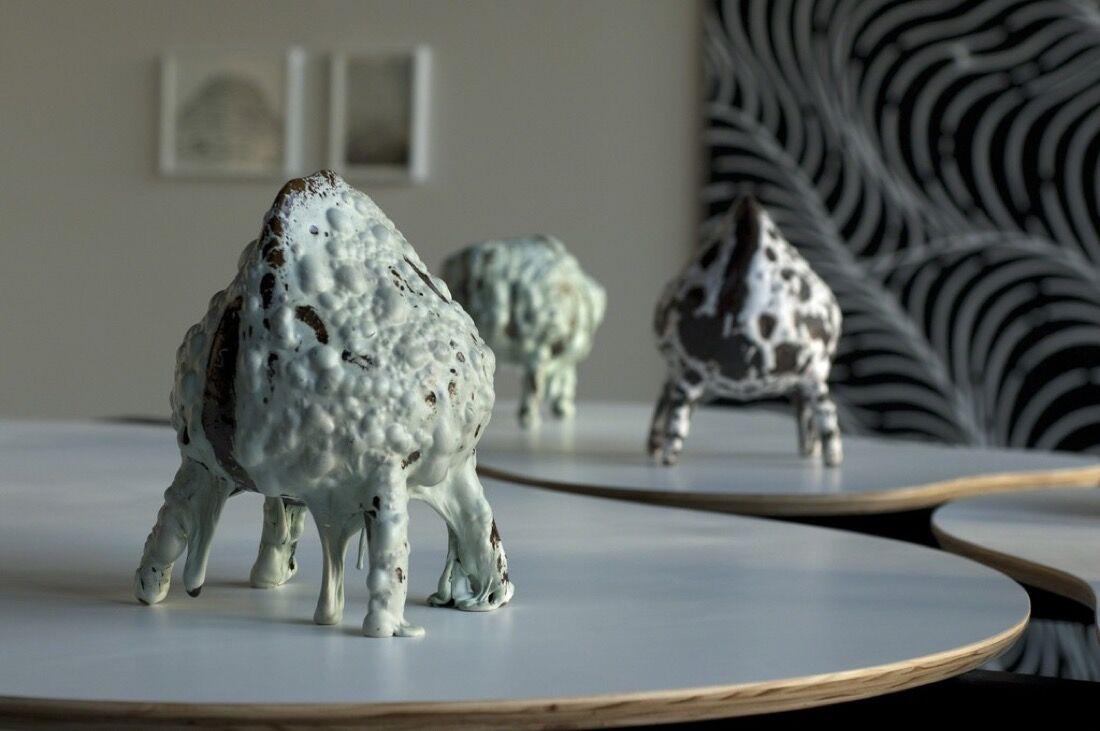 "Installation view of Brendan Monroe's ""Morphology."" Image courtesy of Boiler Room at Heath Ceramics."