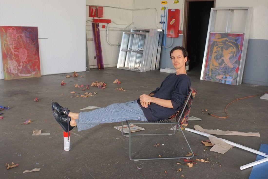 Darren Goins in his studio, photo by Andrea Brown.