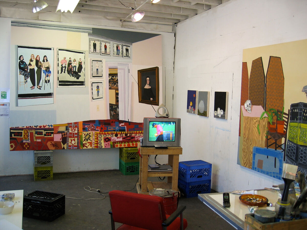In progress works in Jonas Wood's studio. Compton, Los Angeles, 2007. Courtesy of Wood Kusaka Studios.