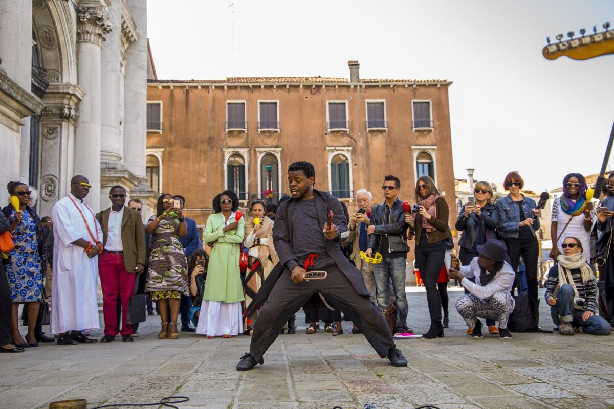 Performance of Qudus Onikeku, Right Here, Right Now, 2017, for the Nigeria National Pavilion at the 57th Venice Biennale, 2017.